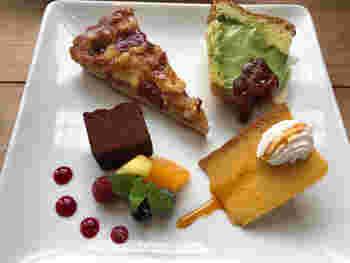 いろんなものを少しずつ食べたい女性に人気の「スイーツ盛り合わせプレート」。定番のケーキから新作ケーキまで、7~8種類のケーキを揃えていますよ。