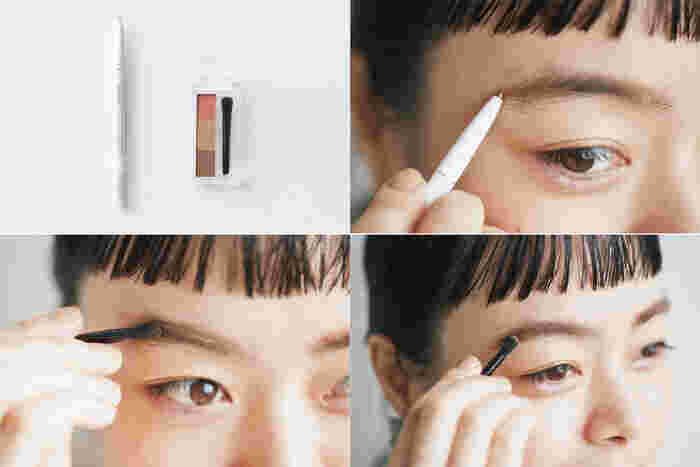 <使用アイテム> アイブロー ペンシル くり出し式 21/アイブロー パウダー PK10★ 1.アイブロー ペンシル くり出し式で眉尻や眉下など毛が足りない部分をちょんちょんと描き足して整える。 2.アイブロー パウダーの中央の淡い茶色を眉全体にのせて眉の太さを整える。 3.アイブロー パウダーの上のピンクを眉全体にふんわり重ね、目もとのピンクと眉の色味を合わせる。