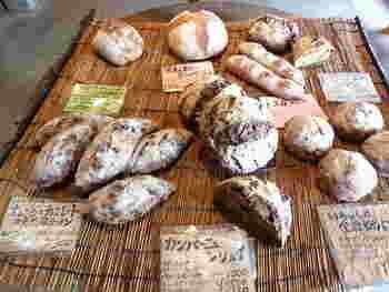 石窯で焼き上げる素朴なパンが人気。薪の香りがほのかに漂うのも特徴です。