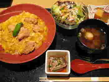 魚介だけでなく、高知産の豚を用いた《窪川ポーク米豚ソテー》や県産のパスタを使ったランチもあります。 【画像は、高知県の静かな環境の中でのびのびと育てられている「土佐はちきん地鶏」を使った《はちきん地鶏の親子丼》。「土佐はちきん地鶏」は、脂肪が少なく、肉に締まりがあるとても美味しい地鶏です。】