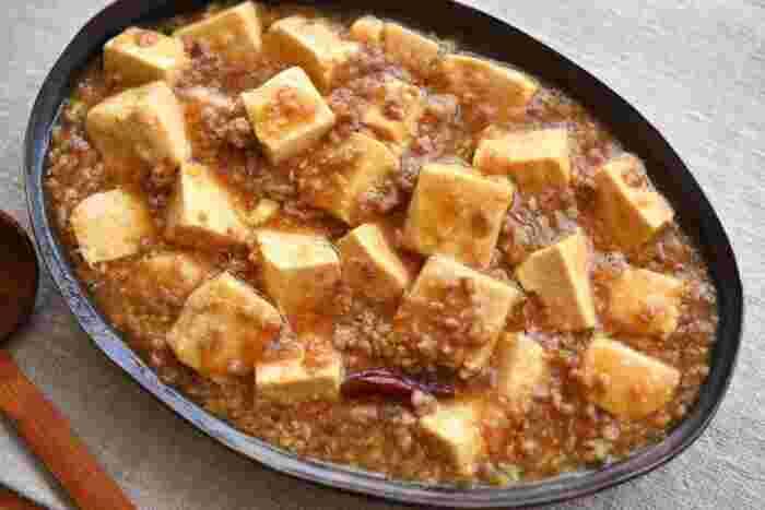 こちらの麻婆豆腐は豆板醤などの本格的な中華調味料を使わなくてもできるレシピ。唐辛子や醤油、味噌などなじみのあるものでおいしくできるので、思い立った時に作れちゃいますよ。