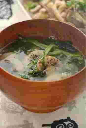 仕上げに黒コショウを挽いて、スープのようにいただける洋風味噌汁。クレソンとマッシュルームという洋風のお野菜もお味噌によく合うということがよくわかります。