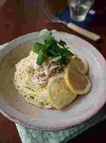 冷製パスタによく使われるカッペリーニ。 素麺で代用することも出来ますよ。