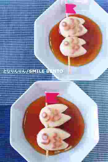 白玉粉とお豆腐を使ってつくる鯉のぼり型のみたらし団子。型抜きはお子さんにお任せしちゃいましょう?
