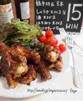 <材料> ・鶏手羽元-8本 ・醤油-大さじ2.5 ・酒-大さじ2 ・蜂蜜-大さじ2 ・にんにくチューブ-5cm ・胡椒-少々