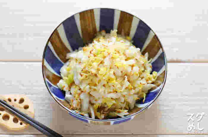 白菜とゴマも相性抜群♪こちらのゴマの風味が食欲をそそる白菜サラダは、シンプルながら和の風味豊かな味付けで、副菜やおつまみに◎。水気をしっかり切ることに気をつけるだけで、たった5分で作れる、ありがた時短レシピです。