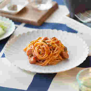 いつものナポリタンもこのお皿にのせるだけでこんなに華やかに。普段使いはもちろん、おもてなしにもぴったりのお皿です。