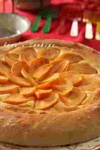 なんと柿のピザです!アーモンドクリームと柿のコンピネーションは是非試したいレシピです。