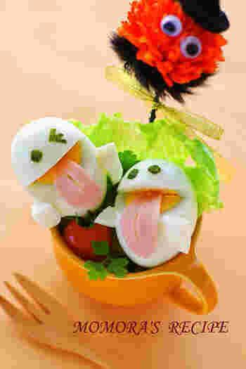 あっかんべーをしたお顔がキュートな、ゆで卵のオバケちゃん。舌はハムをカットしてパスタでとめているそう。お弁当に入れる時は、うずらの卵を使うと大きさも丁度いいですね。