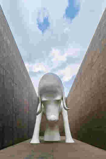 こちらは奈良美智氏の作品「あおもり犬」。その思わず引き込まれる表情に注目です。