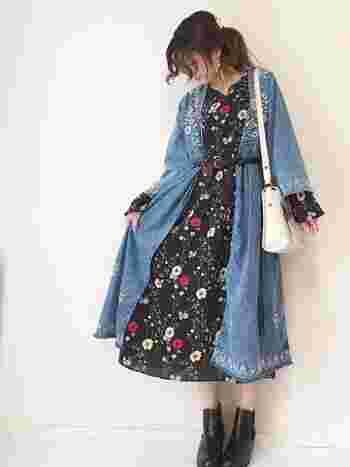 トレンドのガウンもデニム+刺繍なら大人女子にも取り入れやすいですね。 花柄ワンピもベースカラーをシックなものにすれば素敵に着こなせます。