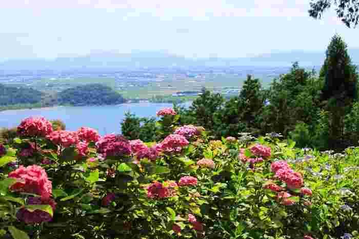 山麓から長命寺本堂までは、約800段の石段が続いています。石段を登り切ると、近江八幡市街を一望することができ、素晴らしい絶叫が脚の疲れを忘れさせてくれます。