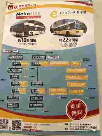 東京駅~京橋、日本橋を巡る「メトロリンク日本橋」は毎日10時から20時まで約10分間隔で、東京駅~水天宮を巡る「メトロリンク日本橋Eライン」は平日は8時から18時まで、土日祝は10時から20時まで約22分間隔で運行しています。