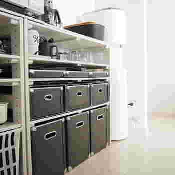 キッチンの収納も一度見直してみましょう。空間を上手に使い、無駄がない収納は憧れですよね。人気ブロガーさんはこのようにモノトーン系で統一されています。