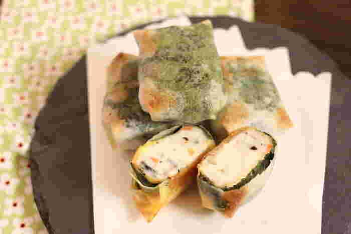 白身魚の揚げ物を、大葉で包んだ四角形の春巻きは、揚げずにオーブンで焼くだけなので簡単に手間なく作れます。