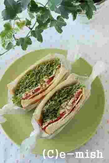 切らなくていいスプラウトは便利ですね。しかも生で食べるのが基本なので、サンドイッチには最適!栄養たっぷりの理想的なお食事になります。