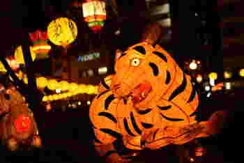 祭りの期間中、約1万5000個のカラフルなランタンが街中に飾られます。イベント会場では動物や人の形をした大きなオブジェも登場し、「ここは日本?」と思うほど異国の雰囲気に。  この極彩色が印象的な迫力のある世界観で、毎年100万人ほどの人々を魅了しています。