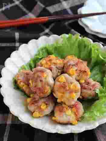 プチッと甘いコーンが美味しさのポイントの豚の唐揚げです。散りばめられた黄色いコーンで見た目もかわいくお弁当にぴったりですね。