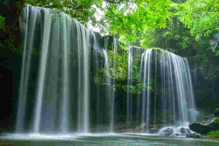 雄大な自然に囲まれた熊本県阿蘇郡の小国町にある鍋ヶ滝(なべがたき)。水のカーテンのような風景が目にも涼しく、水が木漏れ日に照らされる様子はとても神秘的です。滝の裏側に回ることもできますよ。