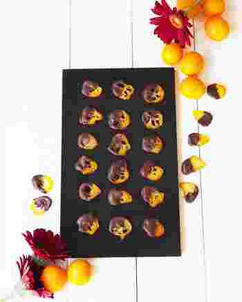 オランジェットを金柑で♪オレンジだと何度も煮たりと手間がかかるのですが、金柑を煮るのは1度で簡単。小さめサイズは、デコレーションパーツとして使いやすいですよ。チョコレート味のカップケーキにも合いそう。