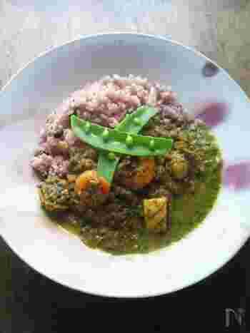 ペーストにした茹でた小松菜を加える、緑色が美しいカレー。ガラムマサラやクミンシードを加えて本格的な味に。