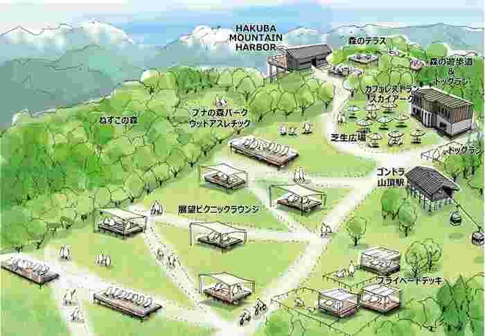 山頂には『森のテラス』、フラットな場所には音楽祭などのイベントも開かれる『芝生広場』、芝生が敷かれたスキー場の斜面には『展望ピクニックラウンジ』『プライベートデッキ』を新設。森の中には『ブナの森パーク』『シェアオフィス』『森の遊歩道&ドッグラン』が整備されました。※営業は11月初旬まで。