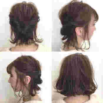 ボブスタイルのねじりんぱです。大胆に落ちた後れ毛がニュアンスたっぷり。