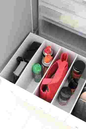 他にも、充電器や殺虫スプレー、お墓参りセット、靴磨きセットなど、お出かけの際に必要な道具はまとめて収納しておきましょう。