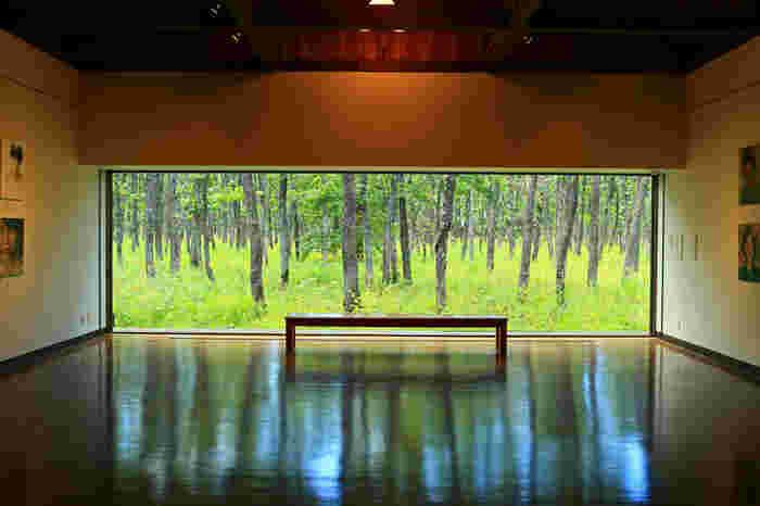 「中札内美術村」(冬季休業) 広大な敷地の中に美術館やレストラン、ショップが点在しています。上質な建築や美術作品が、丁寧に管理された自然と調和しています。ちなみに六花亭の施設の中の自然管理は全て六花亭の職員さんがされているそうです。