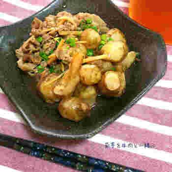 菊芋のごぼうに似た風味を味わうなら、煮物がおすすめ。牛肉を合わせれば、ボリュームもうまみもアップします。ゴロゴロとした大きな菊芋で満足感も◎。