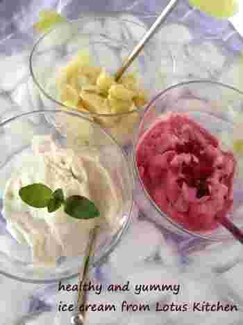 卵の代わりにしらたきを使用!しらたきを下茹でしたらブレンダーでペースト状にして使います。少しモチッとした、簡単ヘルシーなアイスクリームの出来上がりです。