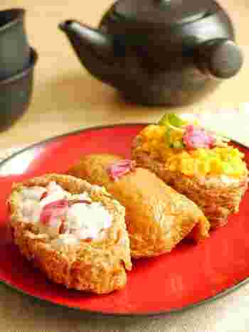 赤米入りのほんのりピンクの酢飯のいなり寿司。桜塩漬けをのせれば、お花見にぴったりの春満開メニュー☆