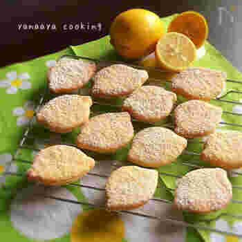 フレッシュなレモン汁を使ったシュガーレモンクッキーです。粉糖をふりかけておめかしすると、よそゆきのお顔になりますね。