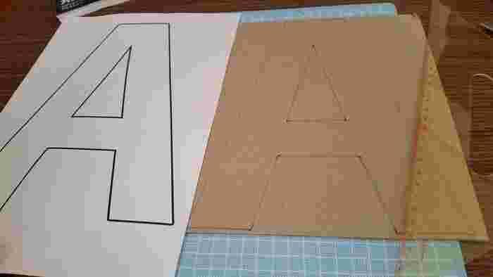 パソコンでプリントした見本となる文字を、段ボールや厚紙に写してカットします。見本の文字と厚紙を重ねて固定し、そのままカッターで切っていく方法もあります。