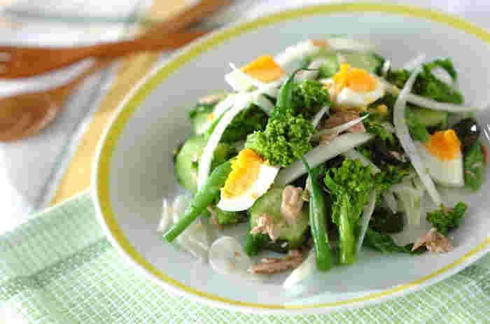 菜の花のニース風サラダ。ドレッシングにアンチョビとガーリックを加えることでコクと香りがアップします。こちらはゆで卵を食べやすい大きさにカットしていますが、ミモザ風に細かく散らすのも春らしいかもしれませんね。出盛りの菜の花は、和風・洋風、いろいろな食べ方を楽しみましょう。