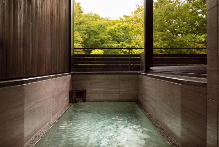 温泉の露天風呂が付いた客室もあります。星空を見上げながら入浴することもできますよ。