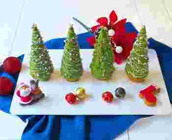 抹茶を加えたクリームチーズをツリー、ビスケットを土台に見立てた可愛らしいケーキ。ツリーのベースには、アイスコーンが使われています。食べやすいサイズなので、子供のおやつにぴったりです。これから迎えるクリスマスに向けて、作ってみてはいかがでしょうか?