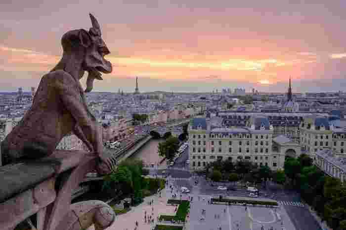 大聖堂まで来たら、塔の上までのぼることをおすすめします! パリの街を360度見渡せる絶景。2つの塔を結ぶテラスには悪霊を追い払う怪獣シメールがたくさんいます。表情やしぐさが個々に違っていて、不気味なような愛くるしいような。