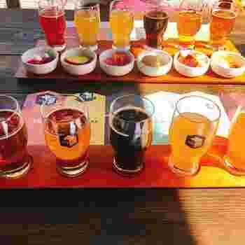 ビールのおいしさを120%堪能してほしい、と考案されたメニューがこちら。定番6種を専用のミニグラスで一度に楽しめます。