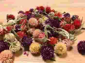 お花の部分だけを切り取って、瓶やかごに入れるのも素敵。カラフルな千日紅らしい使い方です。