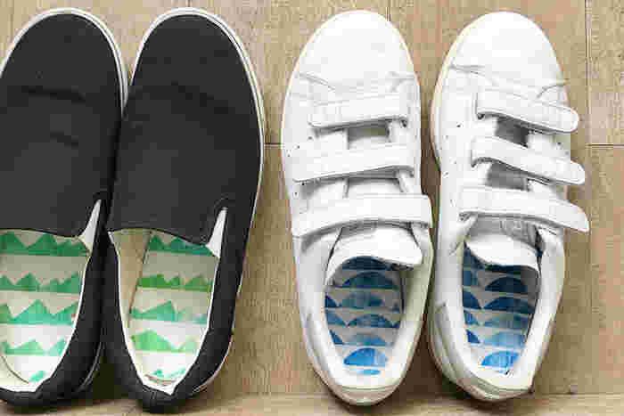 靴を脱いだら可愛い生地が見えるなんて、とってもハッピーになりませんか?シンプルなインソールが多いからこそ、こんな素敵なインソールだと注目されちゃうかもしれませんね。