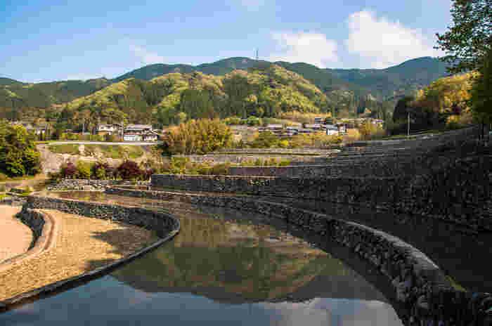 深野のだんだん田は、石堤が有名な三重県松坂市飯南町深野地区に位置する棚田です。石垣の畔が無数に連なる様は独特の景観美をつくり出しています。