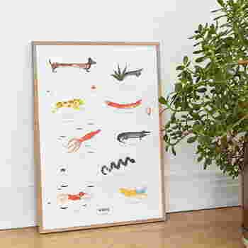 こちらはお友だちが1枚に集合したポスター。人や動物だけでなく、バナナやソーセージといった食べ物も!それぞれ個性豊かで面白いですよ。