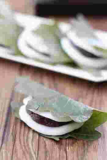 お餅は蒸すかわりに、レンジで作るお手軽な柏餅のレシピ。白玉粉入りなのでもちっとやわらかい食感です。