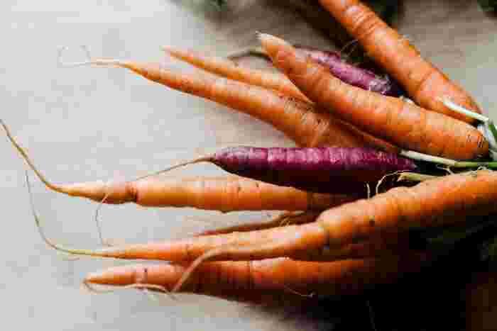 生の人参をそのまま食べるのに抵抗がある方はキャロットラぺなど、少し調理をするとGOODです◎オレンジ色は見ているだけで気分を明るくしてくれますね。