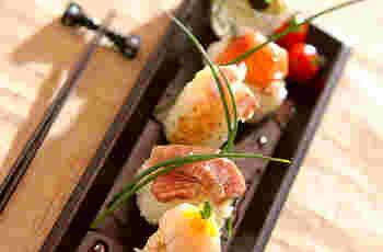 マグロ・サーモン・鯛・ホタテは、マリネ液に通して…手の込んだ5種の小ぶりお寿司です。特別な日に食べたいですね♪