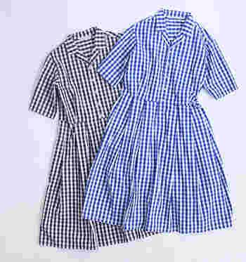 50年代のクラシカルなスタイルを彷彿とさせる「GRANDMA MAMA DAUGHTER(グランマ ママ ドーター)」のシャツワンピースは、ギンガムチェックが爽やかな印象。