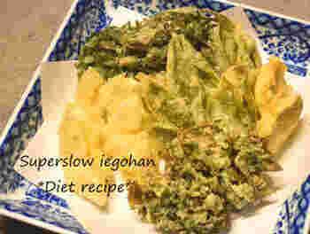 苦みのある山菜は、油を使うことでとても食べやすくなります。アク抜きもいりません。こごみや行者にんにくなどでもおいしくできます。