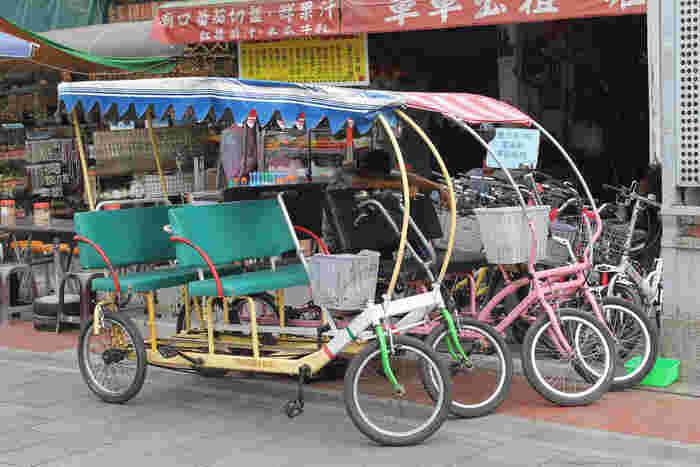 日本ではお目にかかれないモーターつきの4人乗りレンタルサイクルもあります。長い海岸線を満喫するにはやはり自転車がいちばん。遊園地気分で記念にチャレンジしてみてはいかがですか?