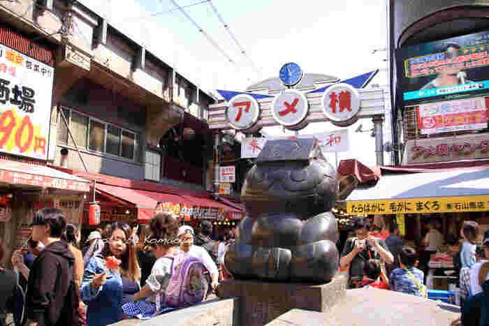 上野駅から御徒町駅までの約500mの距離に、約400もの店舗が軒を連ねる商店街「アメ横」。食品からファッションまで幅広いジャンルの商品が揃う場所ですが、観光客には食べ歩きが大人気です。しっかりお腹を空かせてお出かけになってみては?